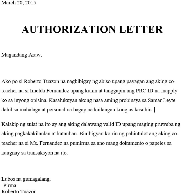 Native Language for Authorization Letter for PRC ID