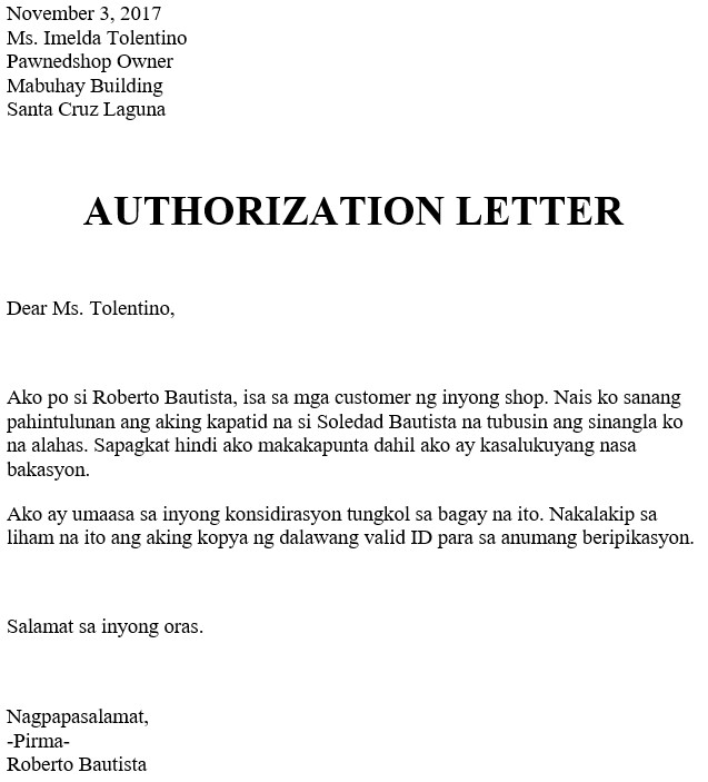 Authorization Letter To Redeem Or Renew Pawned Jewelry