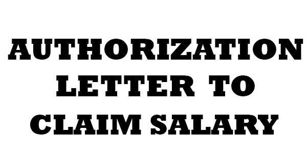 authorization letter to claim salary