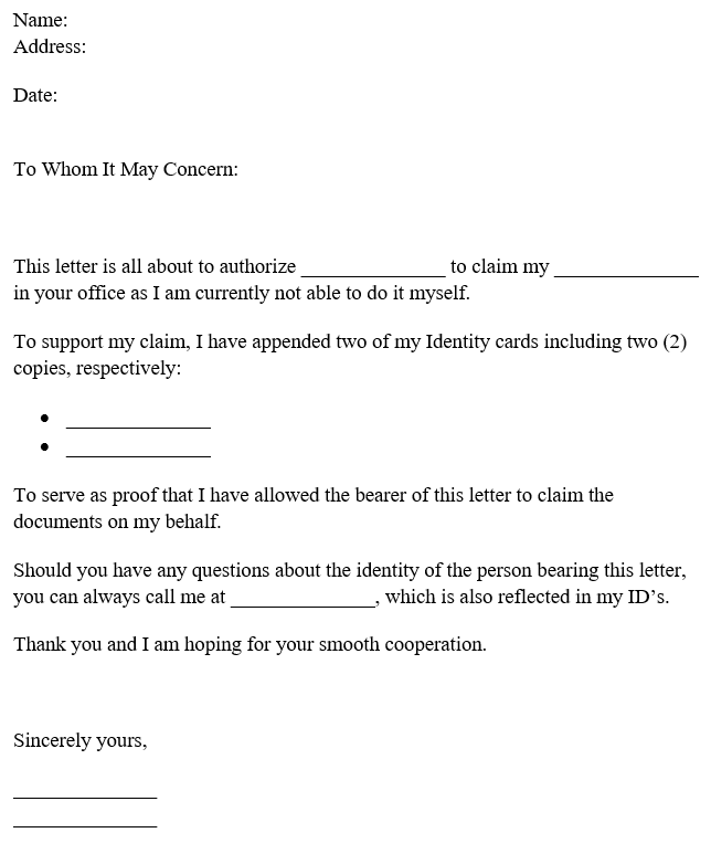 Authorization Letter to Claim Documents