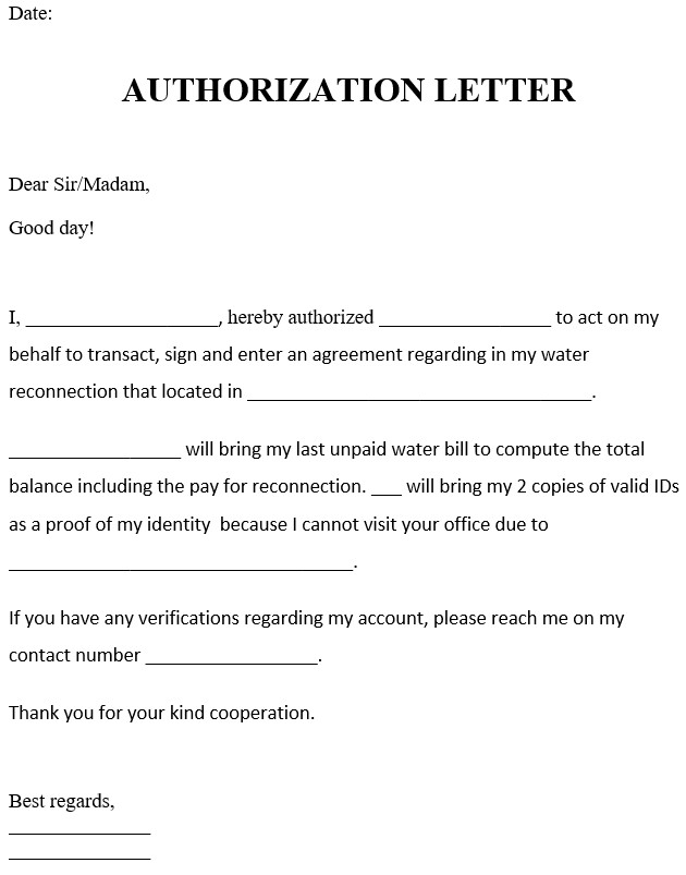 Authorization Letter For Water Reconnection